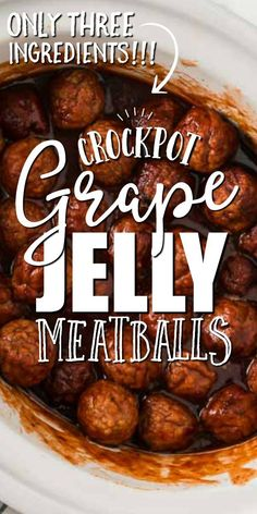 With only three easy ingredients, these simple, sweet and savory crockpot meatballs are the perfect quick appetizer. Frozen meatballs, grape jelly, and barbecue sauce are mixed and simmered in the slo Jelly Meatballs Crockpot, Sweet Meatballs, Party Food Meatballs, Meatball Crockpot Recipe, Simple Meatball Recipe, Meatballs With Grape Jelly, Slow Cooker Frozen Meatballs, Recipes Using Meatballs, Quick Appetizers