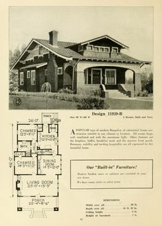 Craftsman style was seen in many bungalow type homes throughout the though it tended to become streamlined and more generic. This plan hews to the early use of details including built-ins and use of decorative elements. Craftsman Style Bungalow, Bungalow Floor Plans, Modern Bungalow, Craftsman Bungalows, House Floor Plans, Craftsman Exterior, Craftsman House Plans, Craftsman Homes, Vintage House Plans
