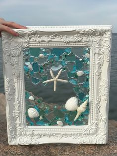 Shabby Chic Mermaid with Shells and Beach Glass