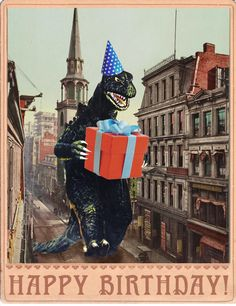 Godzilla birthday card
