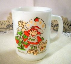 Fire King/AH 1981 Strawberry Shortcake Milk Glass Mug w/Watering Can