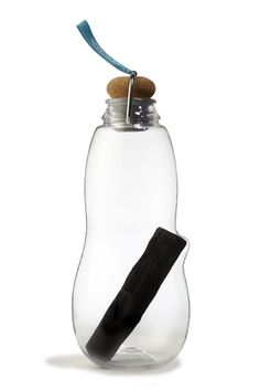 black + blum - charcoal water bottle with cork lid