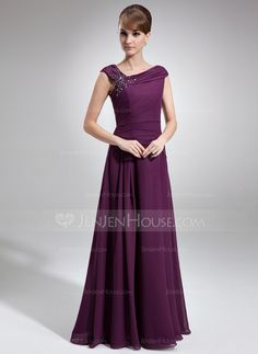 A-Line/Princess Off-the-Shoulder Floor-Length Chiffon Mother of the Bride Dress With Ruffle Beading (008006218) - JenJenHouse
