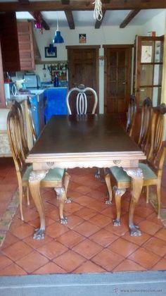 Precioso conjunto de comedor con gran mesa, 6 sillas y 2 sillones chippendale - Foto 1