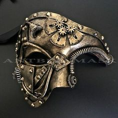 NEW Steampunk Halloween Mask Faux Leather Gear Pipe Black Gold Masquerade Mask Chat Steampunk, Arte Steampunk, Style Steampunk, Steampunk Halloween, Steampunk Crafts, Steampunk Gears, Steampunk Costume, Steampunk Fashion, Gold Masquerade Mask