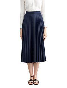 9a757ba6f Simple Retro Womens High Waist Basic Pleated Aline Midi Skirt S Navy Blue  >>>