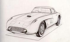 1964 Type 275 GTB. Carrozzeria Pininfarina. A drawing for a berlinetta done by the designer Brovarone. Some of the details are not found on the actual cars themselves; the centrally punted vanishing headlights, for example, and the lights recessed into the mudguards, details that make the car remarkably compact but failed to meet safety standards.