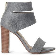 Splendid Jessa Sandal (2 560 ZAR) ❤ liked on Polyvore featuring shoes, sandals, heels, steel blue, cut out sandals, leather sandals, leather shoes, leather ankle strap sandals and zipper sandals
