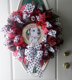 Dalmatian Dog Deco Mesh Wreath Dog Door Decor Red Black Wreath Handmade by MeshWreathsnMore on Etsy
