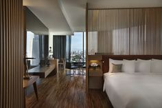 So Studio is a suite room in our Wood Element theme. A style of a wooden Thai… Modern Interior Design, Interior Architecture, Apartamento New York, Hotel Room Design, Hotel Concept, Hotel Interiors, Room Planning, Hotel Suites, Home Bedroom