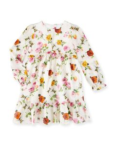 Long-Sleeve+Floral+&+Bee+Voile+Dress,+Ivory,+Size+6-36+Months+by+Gucci+at+Neiman+Marcus.