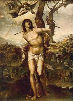 Saint Sebastian + 288 in Rome martyred under emperor Diocletian's persecution of Christians - Painting by Il Sodoma, c. 1525., depicting Saint Sebastian and the arrows.