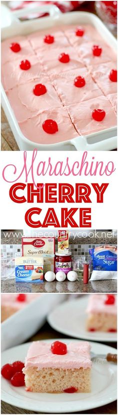 Maraschino Cherry Cake recipe from The Country Cook