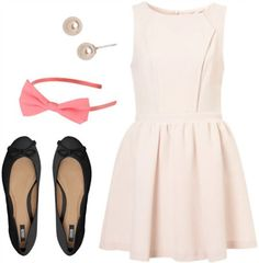 Fashion inspired by Eloise at the Plaza: White a-line dress, simple flats, pearl studs, bow headband