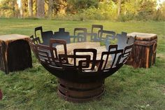Prevailing Links Fire Pit - Unique, handcrafted, plasma cut steel, perfect addition to your outdoor Fire Pit Fuel, Fire Pit Art, Rustic Fire Pits, Metal Fire Pit, Wood Burning Fire Pit, Outdoor Fire Pit Kits, Propane Fire Pit Table, Natural Gas Fire Pit, Weather And Climate