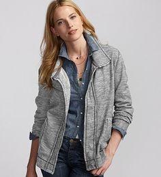 Eddie Bauer Cascade Jacket in Graphite Eddie Bauer, Style Me, Active Wear, Sportswear, Leather Jacket, Style Inspiration, Blazer, Denim, Graphite