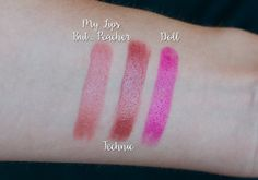 Hello Waffle lipsticks swatches: My Lips But... Peacher, Technic, and Doll
