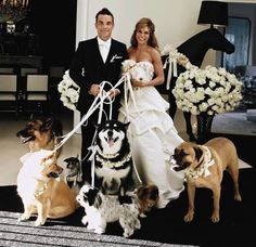 The singer Robbie Williams and the actress Ayda Field got married with all their beautiful dogs. Nice wedding pic, don´t you think? Dog Wedding, Wedding Pics, On Your Wedding Day, Dream Wedding, Wedding Dresses, Wedding Ideas, Wedding Goals, Wedding Outfits, Perfect Wedding