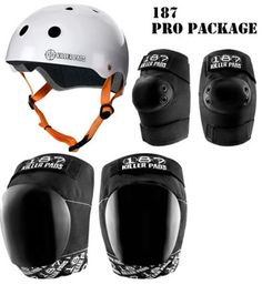 187 Killer Pads PRO Combo Pack With Helmet, Pro Knee and Elbow Pads
