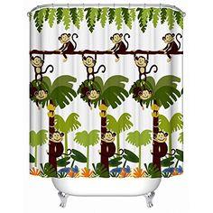 Monkey Bathroom Decor - Monkey Shower Curtain with 12 Shower HooksExtra Long 72x84 Inches   MonkeyGifts.net