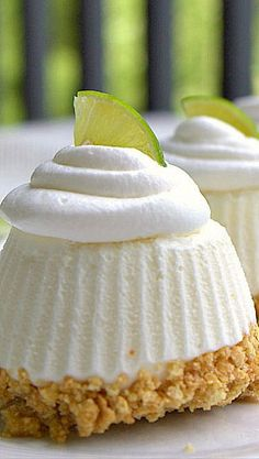 Individual Frozen Key Lime Pies....frozen in silicone cupcake liners...cool and refreshing for summer