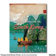 Vintage South Korea Travel Poster Postcard