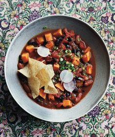 Slow-Cooker Vegetarian Chili With Sweet Potatoes | Get the recipe for Slow-Cooker Vegetarian Chili With Sweet Potatoes.
