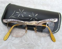 50s Cat Eye Glasses  Metal and pearlized plastic by JanesVintage