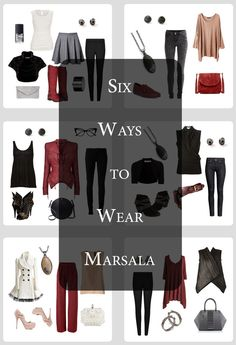 Six Ways to Wear Marsala - in boots, accessories, jackets, belts, pants and tops!