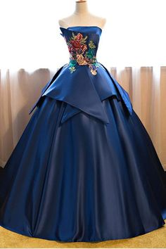 Cheap Prom Dresses Blue Floor Length Satin Wedding Gown Featuring Floral Embroidered Strapless Straight Across Bodice And Lace-Up Back Strapless Prom Dresses, Elegant Prom Dresses, Cheap Prom Dresses, Quinceanera Dresses, Pretty Dresses, Dress Prom, Long Dresses, Formal Dresses, Blue Ball Gowns