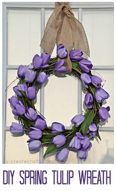 A simple tulip wreath to make for the front door--just needs a grapevine wreath, two bundles of tulips, and hot glue. Pretty!