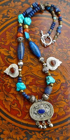 BoHo Tribal Necklace Lapis and Turquoise The Joy Moos Collection,