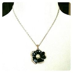 Black Flower Necklace Black flower Necklace with pearl and crystal accents.  Excellent condition!  No trades!  Reasonable offers welcomed! Jewelry Necklaces