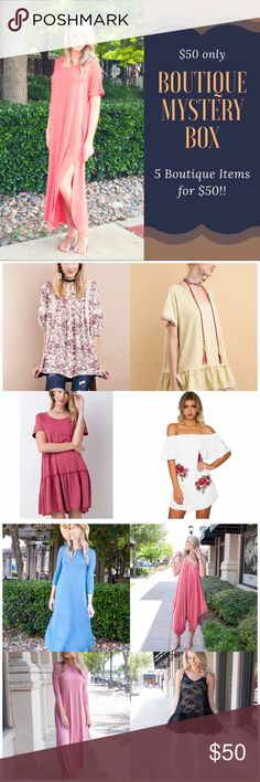 Boutique Mystery Box! Retail value over $250!!! All items are NWT Retail- Boutique. Some may contain jewelry and/ or accessories. I have 3 sizes listed. You can pick S, M, L.   All boxes will contain a mix of pants, shoes, skirts, shorts, leggings, tops, jewelry, swimwear or accessories. 95% of the items are listed.   Please Note: All sales are final. If you don't like something you can always reposh it! You cannot choose what goes in the box. It's a random selection. ‼️Price Firm‼️ B Chic…