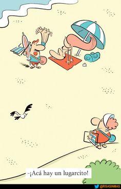 Buscando un lugar en la playa.