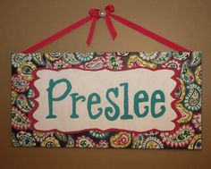 Handpainted Name Canvas inspired by Roco Beat Paisley. $200.00, via Etsy.