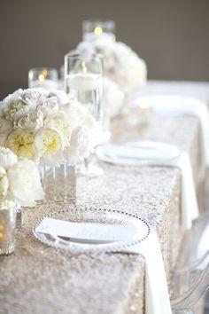 white  silver table