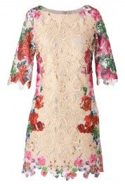 Retro Whole Crochet Floral Shift Dress