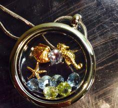 Sea theme locket Floating locket Living locket Oragami locket  South hill designs Locket necklace