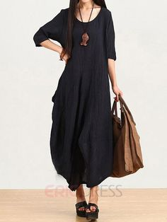 Ericdress Ethic Black Round Neck Loose Maxi Dress Maxi Dresses