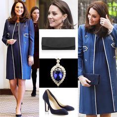 WKW♥: LONDON 2/2/2018 - The Royal College of Obstetricians & Gynaecologists & Launch of Nursing Now Campaign: Jenny Packham Blue Collarless Military Coat♥ Jenny Packham Blue Maternity Dress♥ Jimmy Choo 'Georgia' Navy Suede Pumps ($625)♥ Stuart Weitzman 'Muse' Clutch in Navy Suede ($370)♥ G Collins & Sons Tanzanite & Diamond Pendant Earrings♥ G Collins & Sons Tanzanite & Diamond Pendant Necklace ($12475)♥ SOURCE: whatwouldcatherinewear.tmblr.com