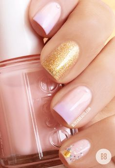 Ombre #Pink #gold #glitter nails bellashoot.com