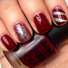 Maroon and silver sparkle. Christmas nails!