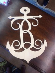 Monogram Anchor Wood Wall Art 18""