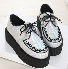 You can go for goth-propriate creepers, but choose ones with a bit of sheen.   How To Be A Pastel Goth