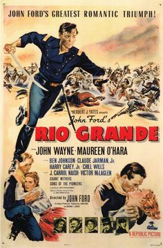 Rio Grande was filmed on our family ranch near Moab Utah, My Grammy Essie was the stunt woman for Maureen O'Hara in the run away wagon, my Uncle Bill was a soldier, and my Dad was a little boy in the wagon... they paid my Grandpa George not to grow hay that summer so they could make use it for the Soldiers tent village...  Oh and I have a copy of this reproduction poster on my wall!