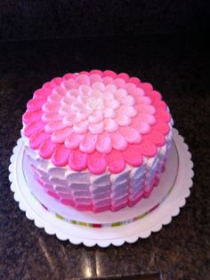 """Pink Ombre Petal Cake - Ombre effect icing using petal technique.  8"""" round."""