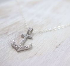 Silver Anchor Necklace - Pave Anchor Jewelry - Anchor Pendant - Nautical Wedding…