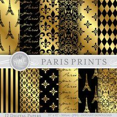 "GOLD PARIS Theme Digital Paper Pack Pattern Prints, Instant Download, 12"" x 12"" Patterns Backgrounds Scrapbook Print"
