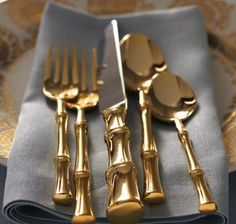 Gold bamboo silverware from Horchow to set your tablescapes with Gold Flatware, Cutlery Set, Going For Gold, In Vino Veritas, Grey And Gold, Solid Gold, Decoration Table, Chinoiserie, Tablescapes